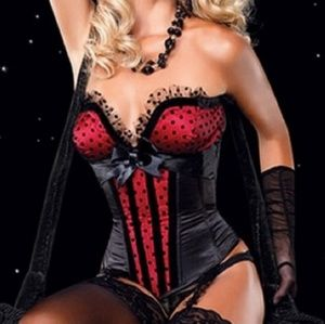Leg Avenue red and black corset